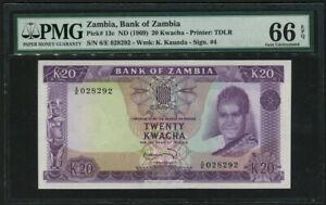 Zambia 1969, 20 Kwacha, P13c, Signature 4, PMG 66 EPQ GEM UNC