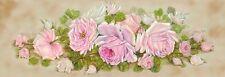 Original Shabby Chic Pink Roses Yard Long Canvas Print