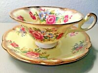 VINTAGE EB FOLEY BONE CHINA CUP & SAUCER SET YELLOW PINK FLORAL BOUQUET