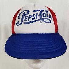 VINTAGE PEPSI COLA SNAPBACK TRUCKER HAT CAP RED WHITE BLUE RETRO ROPE SCRIPT
