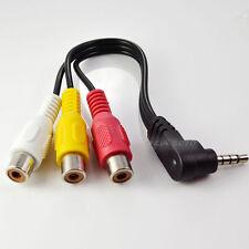"""Mini AV TRRS Angled Plug to 3 RCA Female Jack Audio Video Adapter 1/8"""" 3.5mm 4P"""