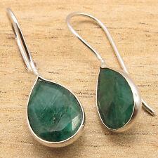 925 Silver Plated Fashion Jewellery Simulated Emerald Gemstone Deco Earrings !