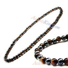 """Accents Kingdom 3x Power Mens Magnetic Hematite Tiger's Eye Necklace 18"""""""