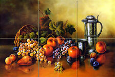 18 x 12 Art Corado Pila Apple Grape Mural Ceramic Bath Backsplash Tile #1202