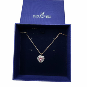 Swarovski Collection one Heart Necklace Multi colored Rose Gold Plating
