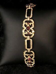 Jacqueline Kennedy Simulated Diamond & Amethyst Bracelet NEW