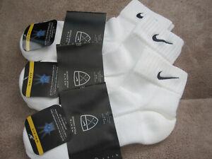 3 PAIRS OF NIKE WHITE ANKLET SOCKS SOCK SIZE 9-11 NEW