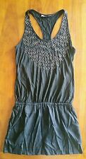 Hussy black with metal ring detail dress/tunic  sz6 preowned free post (e83)