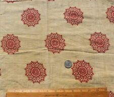 Antique c1810-20 French Turkey Red Medallion Block Printed Yellow Cotton Fabric