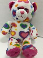 "Build A Bear Hearts & Hugs Bear Plush White Blue Purple Pink Hearts 16"" Tall Toy"