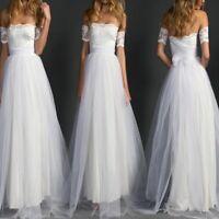 Women White Lace Bridal Ball Gown Tulle Beach Wedding Dress Elegant Off Shoulder