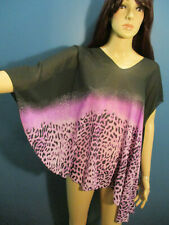 XL / 1X / 2X purple and black sheer animal print asymmetrical shaw blouse by G