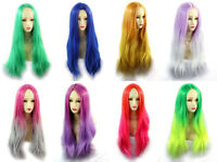 Wiwigs ® Romantic Long Straight Wigs Grey Pink Green Yellow Blue Ombre Hair