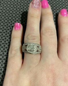 Preowned Halo Diamond Framed Engagement Ring size 7 3/4 Carats 14k WG Estate