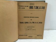 Ord 7 Snl G-749. Maintenance Alwnc for Truck, cargo, 2-1/2 ton, 6x6, M135. 1952