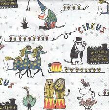 2 Lunch Paper Servietten Napkins (ZZv28) Moomins im Zirkus