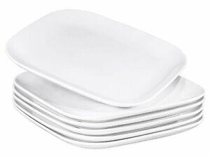 Bruntmor Ceramic Square Dinner Plates Set of 6 Restaurant Dishes White 10 Inch