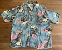 Vintage Iolani Rayon Aloha Hawaiian Floral Shirt XL - Flowers & Leaves EUC