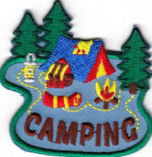 """CAMPING"" - Iron On Patch Scouts Girl Boy Cub Tent Camper Outdoors"