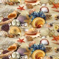 Fabric Beach Sand & Shells Real on Cotton by Elizabeth 1/4 yard