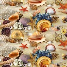 Fabric Beach Sand Sea Shells Real on Cotton ELIZABETH 1/4 yard 278SAND