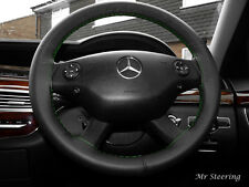 FOR MERCEDES E CLASS W211 02-09 BLACK LEATHER STEERING WHEEL COVER GREEN STITCH