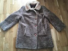 SHEARLING LADIES SHEEPSKIN COAT WITH MINK COLLAR SIZE 12-14 VINTAGE