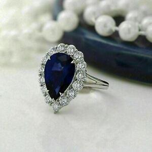 Dainty 3.2Ct Pear Gorgeous Cut Blue Sapphire Halo Wedding Ring 14K White Gold FN