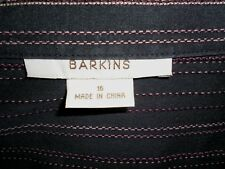 Ladies Barkins shirt purple w pink white stitch stripes long sl 14 - 16 stretch