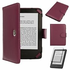 TECHGEAR Purple Kindle PU Leather Folio Case Cover With Magnetic Clasp for Amaz