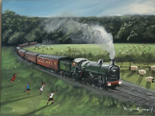 Pete Rumney Hand Painted Acrylic, Gouache And Oil Train Scene Painting Signed