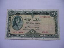 IRELAND/ÉIRE. 1970 LADY LAVERY IRISH BANKNOTE@1 POUND/PUNT.#3 FREE POSTAGE