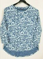 Fresh Produce Women's XL Blue High Low Hem Abstract 3/4 Sleeve Cotton Knit top