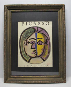 Vintage Pablo Picasso Ceramics Collage Numbered in Pencil Signed Red Crayon yqz