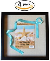"""(4-Pack) 12x12"""" Black Shadow Box Frame with Linen Background with 8 Stick Pins"""