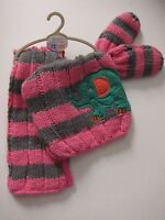 New Baby Girls Grey & Pink NEXT Hat Scarf & Mittens Age 3 - 9 Months RRP £13