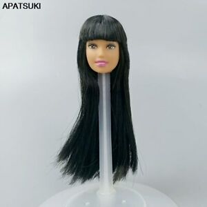 "Black Long Straight Hair Doll Head 1/6 BJD Doll Heads for 11.5"" Doll Accessories"