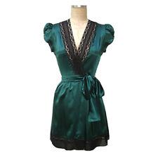 TRASHY DIVA PIN UP ROBE green silk vintage style lingerie sexy retro mini sz XS