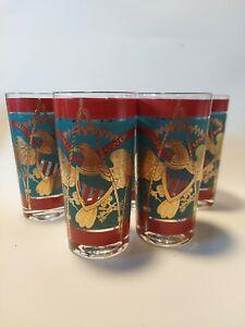 5 Vintage Cera Highball Glasses, Regimental Drum; Bicentennial, 22k gold detail