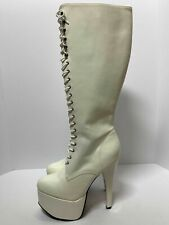 Womens White Knee High Boots Platform Stiletto Heels Patent Leather Shoe Sz 9-11