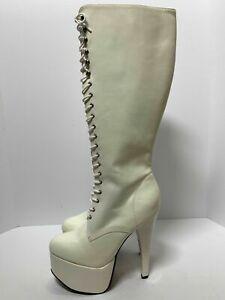 Womens White Knee High Boots Platform Stiletto Heels Patent Leather Shoe Sz 9-11
