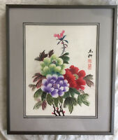 Original Chinese Painting with Frame: Peony Flowers
