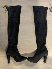 Stuart Weitzman Highland Black Suede OTK Boots Size 10