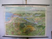 Schulwandkarte schöne alte Wandbild Erdkunde Vogelperspektive 157x115cm vintage