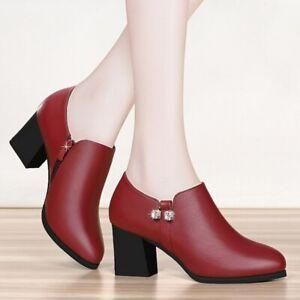 Zapatos De Tacón Alto Sólido Para Mujer Botas De Cuero Bombas Elegante Invierno