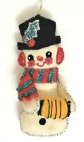 """Bucilla Snowman Ornament Completed Handmade From Kit 9"""" Vintage"""