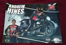 ANDREW HINES SIGNED  5X CHAMP NHRA HARLEY DAVIDSON MOTORCYCLE POSTER 18X24