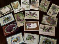Pretty ~Lot of 16 Lilac Purple Lilacs Flowers~ Vintage Greetings Postcards-h183