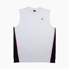Nike Air Jordan 1 Mens White Woven Jumpman Basketball Vest Jersey L Large Black