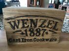 """Wenzel 1887 Vintage Cast Iron Cookware Wooden Box Only  22.5"""" x 16"""" x 11"""""""